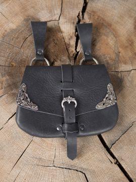 Frühmittelaltertasche mit Beschlägen schwarz