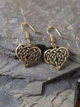 Ohrringe keltisches Herz bronze