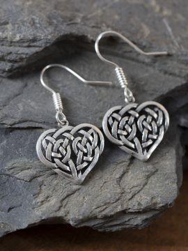 Ohrringe keltisches Herz versilbert