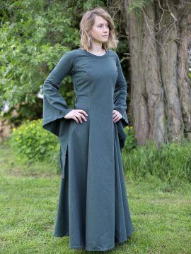 Edles Kleid mit Trompetenärmeln grün