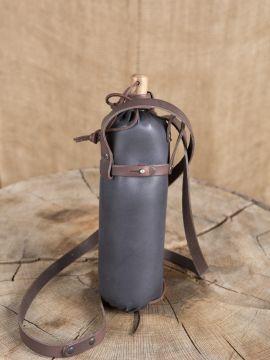 Trinkflasche aus Leder schwarz