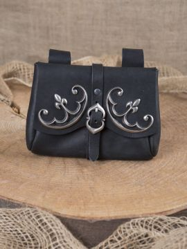 Mittelaltertasche mit Beschlägen schwarz