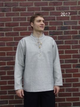Winterhemd - Stehkragenhemd grau meliert