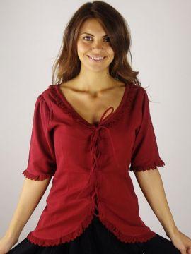 Kurzarmbluse mit Spitze rot