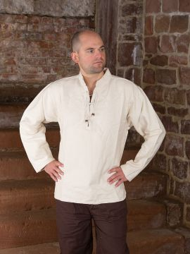 Winterhemd - Stehkragenhemd natur S