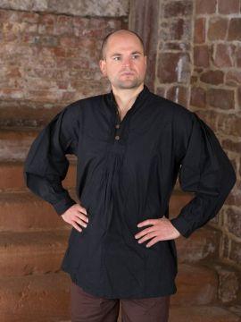 Biesenhemd mit Holzknöpfen schwarz
