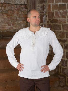 Baumwollhemd mit rundem Kragen weiß M