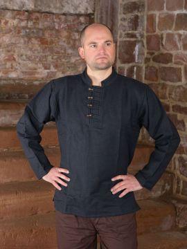 Dickes Stehkragenhemd mit Knopfleiste schwarz XXL