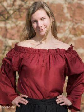 Mittelalterbluse aus Viskose rot