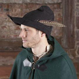 Robin Hood Hut aus Leder, schwarz
