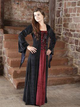 Samtkleid schwarz-rot