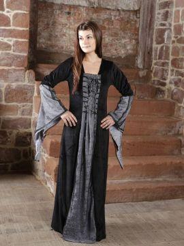 Traumkleid für Mittelalter / Gothic / Fasching schwarz-grau