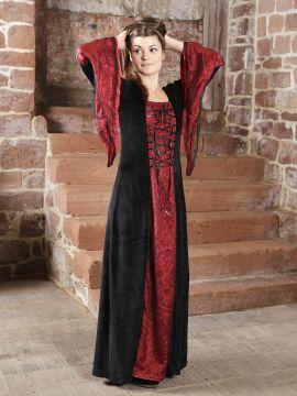 Traumkleid für Mittelalter / Gothic / Fasching schwarz-bordeaux