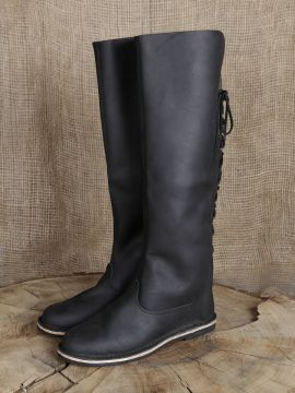 Hohe Lederstiefel aus Nubukleder schwarz