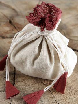 Stoffbeutel für Damen natur-rot