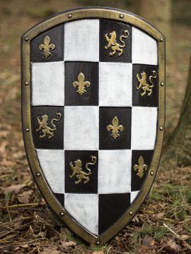 LARP-Schild mit Schachbrettmuster weiß-gold