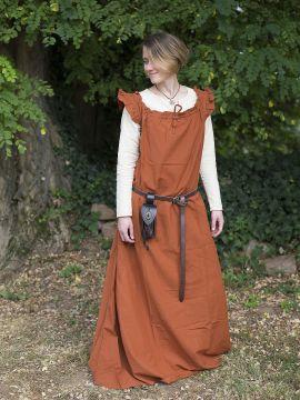 Ärmelloses Kleid mit Schulterrüsche rostrot