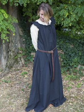 Ärmelloses Kleid mit Schulterrüsche schwarz