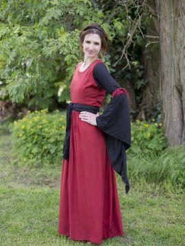 Kleid mit Trompetenärmeln rot-schwarz