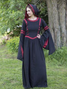 Kapuzenkleid aus Viskose schwarz-rot