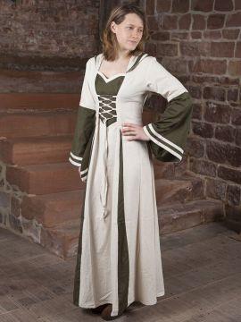 Mittelalterkleid mit Kapuze in natur-grün