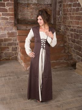 Mittelalterkleid mit Kapuze in natur-braun