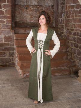 Mittelalterkleid mit Kapuze in natur-olive