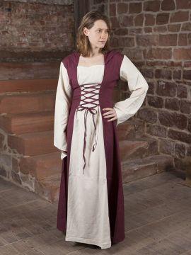Mittelalterkleid mit Kapuze in weinrot-natur