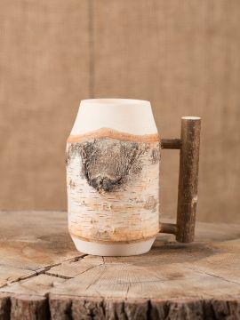 Bierkrug aus Birkenholz