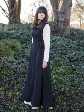 Ärmelloses Trägerkleid aus Canvas schwarz