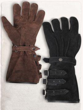 Stulpenhandschuhe mit Schnallen braun | S