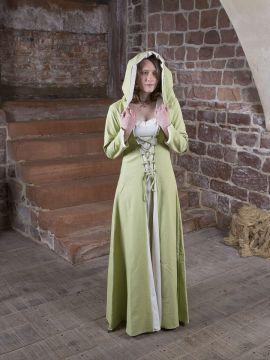 Mittelalterkleid Gwenhwyfar creme-hellgrün
