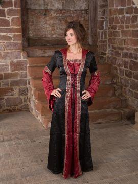 Mittelalterkleid mit Kapuze in schwarz rot L/XL