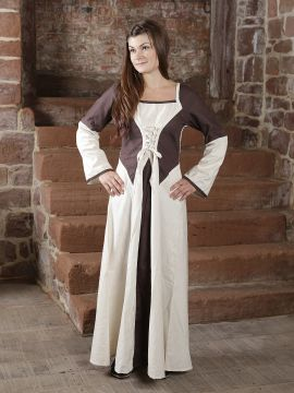 Kleid zweifarbig mit Schnürung in natur-braun