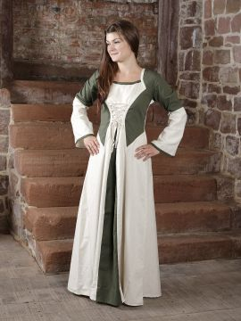 Kleid zweifarbig mit Schnürung in natur-olive S/M