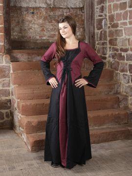 Kleid zweifarbig mit Schnürung schwarz-bordeaux