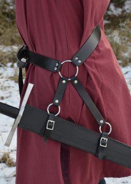 Schwertgürtel aus schwarzem Leder