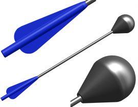 Bolzen für Larp Armbrust - blaue Befiederung