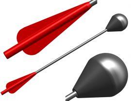 Bolzen für Larp Armbrust 3er Set - rote Befiederung