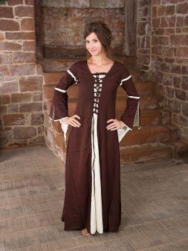 Kleid mit Trompetenärmeln, braun-natur