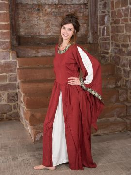 Edles Kleid mit Bordüre rot-natur L