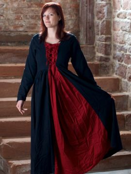 Mittelalterkleid aus Baumwolle schwarz-rot