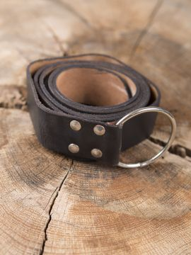 Stabiler Ringgürtel aus braunem Leder 150 cm