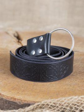 Ringgürtel mit Prägung schwarz