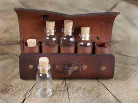 Tranktasche mit 5 Flaschen braun