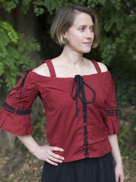 Bluse mit verstellbaren Trägern, rot-schwarz