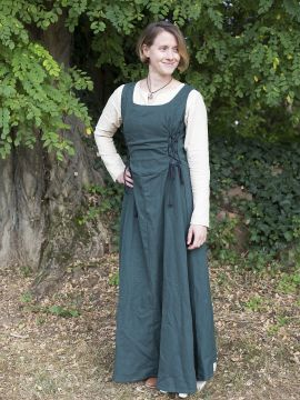 Ärmelloses Trägerkleid aus Canvas grün