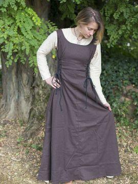 Ärmelloses Trägerkleid aus Canvas braun