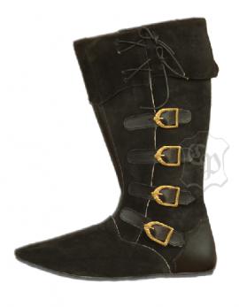 Mittelalter Stiefel mit Schnallen schwarz
