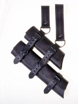 Doppel-Schwertgehänge aus Leder schwarz